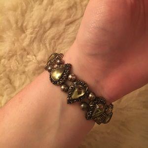 Vintage Green + Silver bracelet